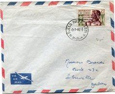 """CONGO LETTRE PAR AVION AFFRANCHIE AVEC LE N°135 SURCHARGE """" COURRIER AERIEN FRANCAIS LEOPOLDVILLE JUILLET 1960 """" (signé) - French Congo (1891-1960)"""