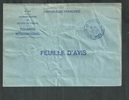 Wallis Et Futuna; Mata Utu Sur Enveloppe De Service De La Poste Feuille D'avis ,échange International - Covers & Documents