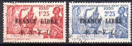 """Saint Pierre Et Miquelon: Yvert N° 281/282°; Surchargé """"France Libre"""" - Oblitérés"""