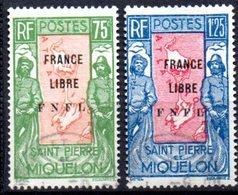 """Saint Pierre Et Miquelon: Yvert N° 286/287°; Surchargé """"France Libre"""" - Oblitérés"""