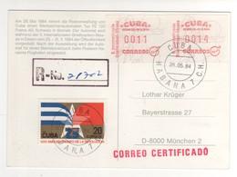 Beau Timbre , Stamp Et Vignettes D'affranchissement Sur Carte Postale Recommandée , Postcard Registered Du 26/05/84 - Cartas