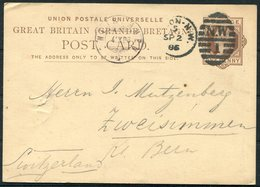 1886 GB Stationery Postcard London - Zweisimmen Switzerland. Ambulant TPO Railway - 1840-1901 (Regina Victoria)