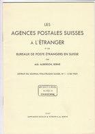 Schweiz Switzerland Auberson Agences Suisses à L'étranger & Bureaux De Poste étrangeres En Suisse 1937 - Military Mail And Military History