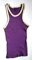 DEBARDEUR MAILLOT DE BASKET EN COTON VIOLET Liserets Blancs Années 40-50 - Vintage Clothes & Linen