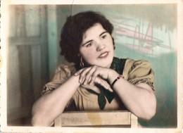 1958  Pretty Girl   - Portrait En Studio Jolie Filles - VINTAGE  Soviet Russian Hand Tinted Photo - Anonymous Persons