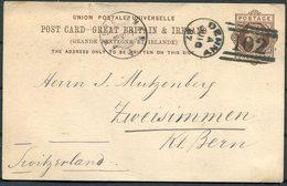 1889 GB Stationery Postcard The Castle, Denny 102 Duplex, Scotland - Zweisimmen Switzerland. - 1840-1901 (Regina Victoria)