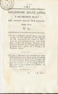1822 REGNO DELLE DUE SICILIE FERDINANDO DECRETO NOJA E PESCASSEROLI - Decreti & Leggi