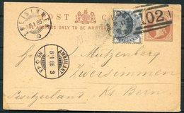 1886 GB Uprated Stationery Postcard, Herbertshire Castle, Denny 102 Duplex, Scotland - Zweisimmen Switzerland. Ambulant - 1840-1901 (Regina Victoria)