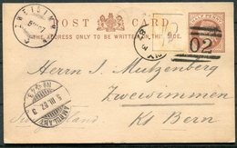 1887 GB Uprated Stationery Postcard, Herbertshire Castle, Denny 102 Duplex, Scotland - Zweisimmen Switzerland. Ambulant - Briefe U. Dokumente