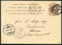 1882 GB Stationery Postcard, London - Zweisimmen Switzerland. Ambulant TPO Railway Via Thun - 1840-1901 (Regina Victoria)