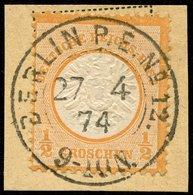 DT.REICH 1874, Nr. 18 AUF BRIEFSTÜCK ZENTRISCH STPL BERLIN P.E.12. LUXUS! - Oblitérés