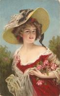 """Pretty, Elegant Lady With Roses. Fantasy Hat"" Nice Vintage Postcard - Women"