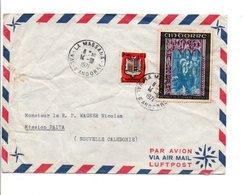 ANDORRE AFFRANCHISSEMENT COMPOSE SUR LETTRE POUR LA NOUVELLE CALEDONIE 1971 - Andorre Français