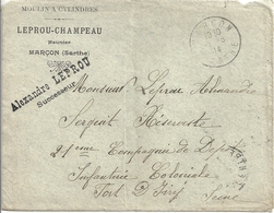 France Marçon 72 Enveloppe Du Moulin à Cylindre Leprou-Champeau - Old Paper