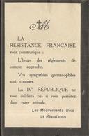 TRACT . 39/45 .RESISTANCE FRANCAISE . REGLEMENT DE COMPTE APPROCHE ! - Documents Historiques