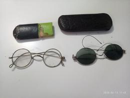 2 Occhiali Glasses Gafas Lunettes Old Rotondi Antichi Con Custodia Pelle 1 Da Vista 1 Da Sole - Joyas & Relojería