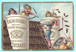 Très Jolie Chromo Chocolat Suchard. Scènes D'enfants Donnant L'assaut à Un Chateau De Chocolat. - Suchard