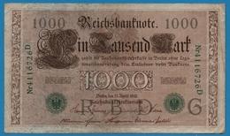 DEUTSCHES REICH 1000 Mark 21.04.1910# 4116726D  P# 45b - [ 2] 1871-1918 : German Empire