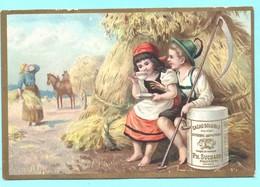 Très Jolie Chromo Chocolat Suchard. Enfants Moissonneurs Faisant Une Pause Avec Une Tasse De Chocolat. - Suchard