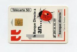Banque Directe . Groupe Paribas . Insecte ,Coccinelle    . Télécarte 50 Unités . - Coccinelle
