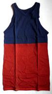 DEBARDEUR MAILLOT DE BASKET EN COTON BLEU ET ROUGE Liserets Bleus Années 40-50 - Vintage Clothes & Linen