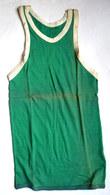 DEBARDEUR MAILLOT DE BASKET EN COTON VERT Liserets Blancs Années 40-50 - Vintage Clothes & Linen