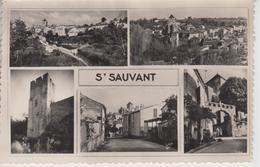 CPSM Saint-Sauvant Avec 5 Vues : Vue Générale (2 Vues), La Tour, Entrée Du Bourg, Porche De L'église - Frankreich