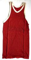 DEBARDEUR MAILLOT DE BASKET EN COTON ROUGE Liserets Blancs Années 40-50 - Vintage Clothes & Linen