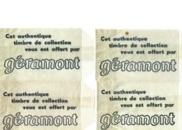 4 Enveloppes Publicitaires Des Fromageries Géramont - Timbres De Collection Offerts Avec L'achat D'un Fromage - Transparante Hoezen