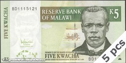 TWN - MALAWI 36c - 5 Kwacha 1.12.2005 DEALERS LOT X 5 - Prefix BD UNC - Malawi