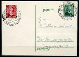 """German Empires 1936 Satz Stempel Belegkarte Mit Mi.Nr.604/05 U. SST""""Berlin-Charlottenburg.-AUTOSCHAU Berlin """"1 Karte - Voitures"""