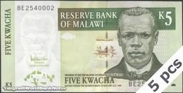 TWN - MALAWI 36c - 5 Kwacha 1.12.2005 DEALERS LOT X 5 - Prefix BE UNC - Malawi