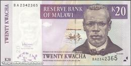 TWN - MALAWI 52c - 20 Kwacha 31.10.2007 Prefix BA UNC - Malawi