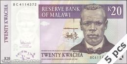 TWN - MALAWI 52c - 20 Kwacha 31.10.2007 DEALERS LOT X 5 - Prefix BC UNC - Malawi