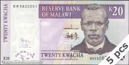 TWN - MALAWI 52d - 20 Kwacha 31.10.2009 DEALERS LOT X 5 - Prefix BN UNC - Malawi