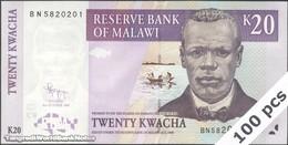 TWN - MALAWI 52d - 20 Kwacha 31.10.2009 DEALERS LOT X 100 - Prefix BN UNC - Malawi