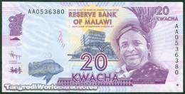 """TWN - MALAWI 57a - 20 Kwacha 1.1.2012 Error """"Domasi"""" - Prefix AA UNC - Malawi"""