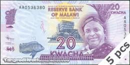 "TWN - MALAWI 57a - 20 Kwacha 1.1.2012 DEALERS LOT X 5 - Error ""Domasi"" - Prefix AA UNC - Malawi"