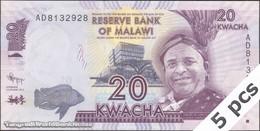 "TWN - MALAWI 57a - 20 Kwacha 1.1.2012 DEALERS LOT X 5 - Error ""Domasi"" - Prefix AD UNC - Malawi"