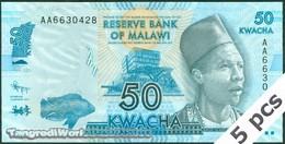 TWN - MALAWI 58a - 50 Kwacha 1.1.2012 DEALERS LOT X 5 - Prefix AA UNC - Malawi