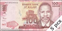 TWN - MALAWI 59a - 100 Kwacha 1.1.2012 DEALERS LOT X 5 - Prefix AE UNC - Malawi