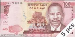TWN - MALAWI 59b - 100 Kwacha 1.1.2013 DEALERS LOT X 5 - Prefix AL UNC - Malawi