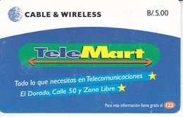 (CHIP ROJO) TARJETA DE PANAMA DE CABLE & WIRELESS DE TELEMART - Panama