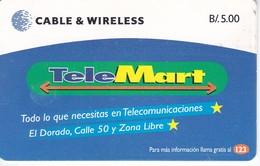 (CHIP NEGRO) TARJETA DE PANAMA DE CABLE & WIRELESS DE TELEMART - Panama