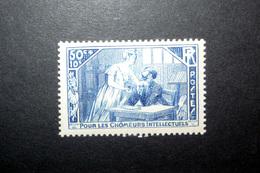 FRANCE 1935 N°307 * (POUR LES CHÔMEURS INTELLECTUELS. LA MANSARDE. 50C + 10C BLEU) - France