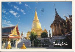 Thailand Postcard Sent To Sweden (Wat Phra Sri Ratana Sasadaram, Bangkok) (Needle Marks At The Top Of The Card) - Tailandia