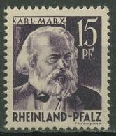 Französische Zone: Rheinland-Pfalz 1947 Karl Marx Type II, 5 V V II Postfrisch - Zone Française