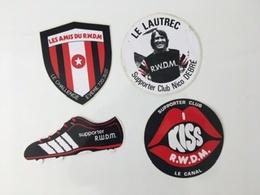 4 Stickers Vintage Années 70 Les Amis Du R.W.D.M. Supporter Club Nico Debré Le Canal Molenbeek - Football