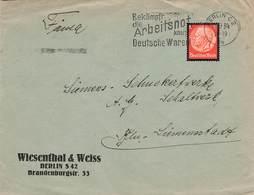 DR Firmenbrief EF Hindenburg, Wiesenthal & Weiss Berlin 1934 , Arbeitsnot - Storia Postale