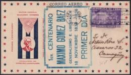 1936-FDC-111 CUBA FDC 5c AIR 1936 VIOLET CANCEL CENT. MAXIMO GOMEZ. RARE CACHET - FDC
